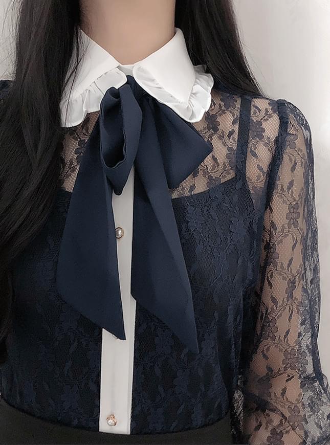 French lace ribbon blouse 襯衫