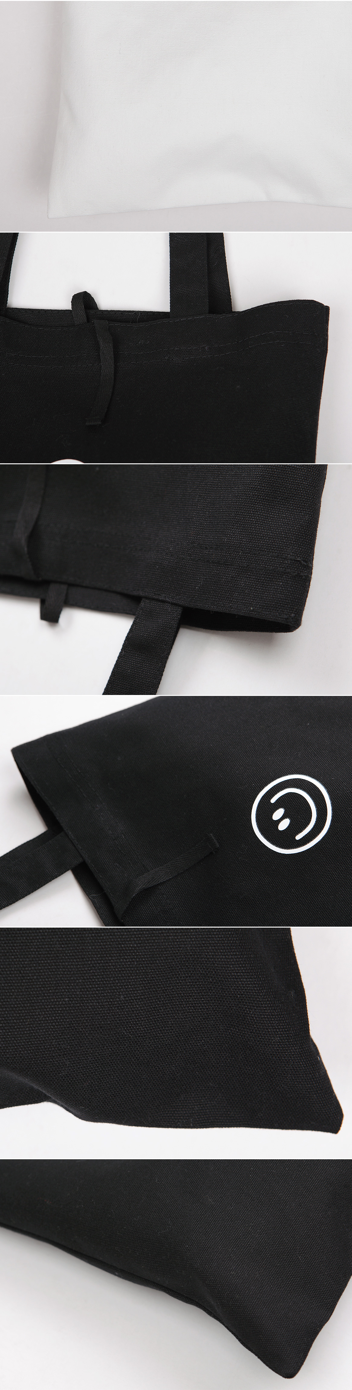 Smiley Eco Bag with zipper pocket and straps
