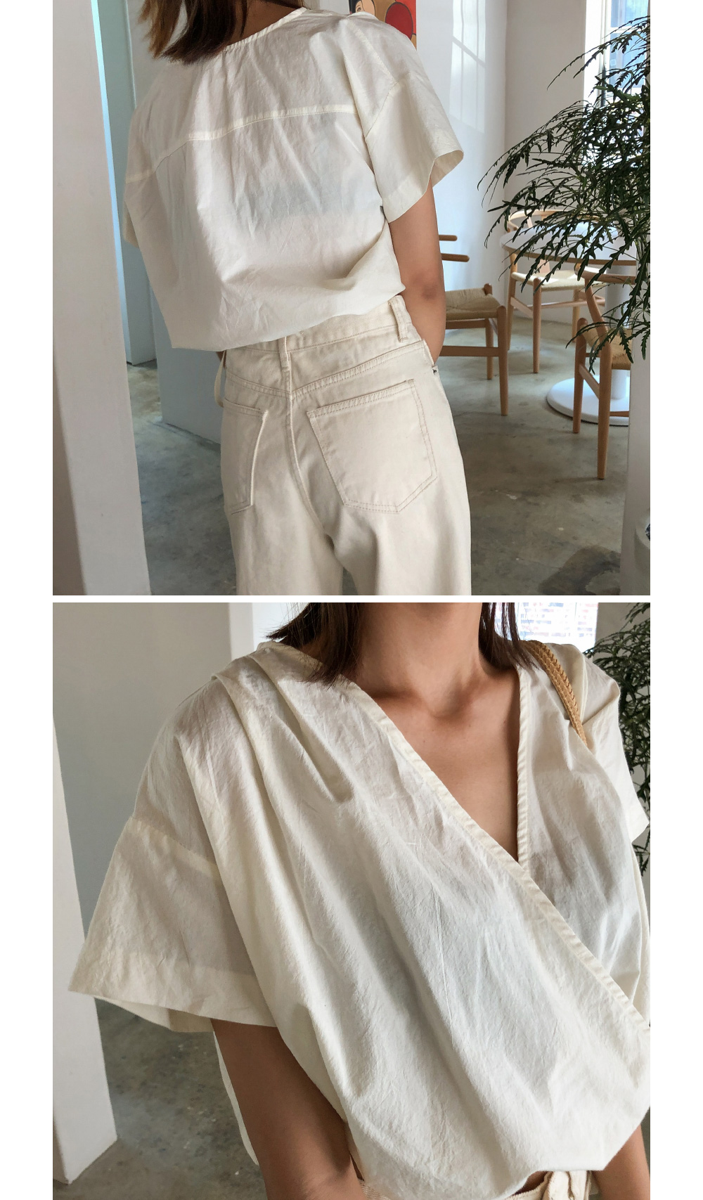 strap crop wrap blouse