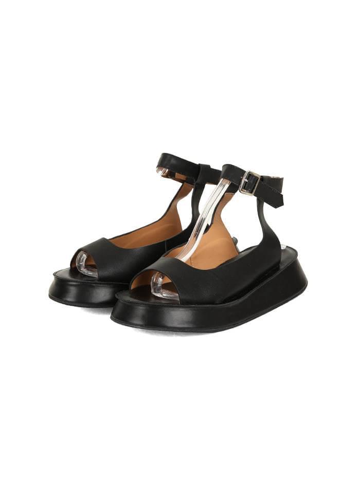 leather platform buckle sandals (2 color)