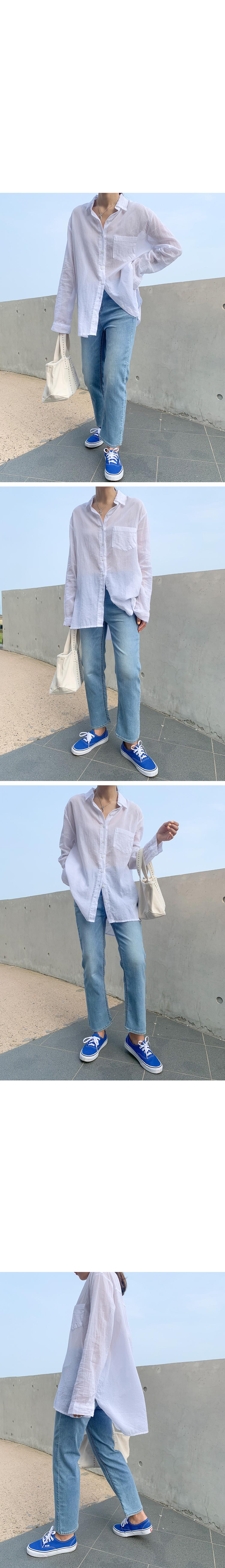 Loose long natural cotton shirt