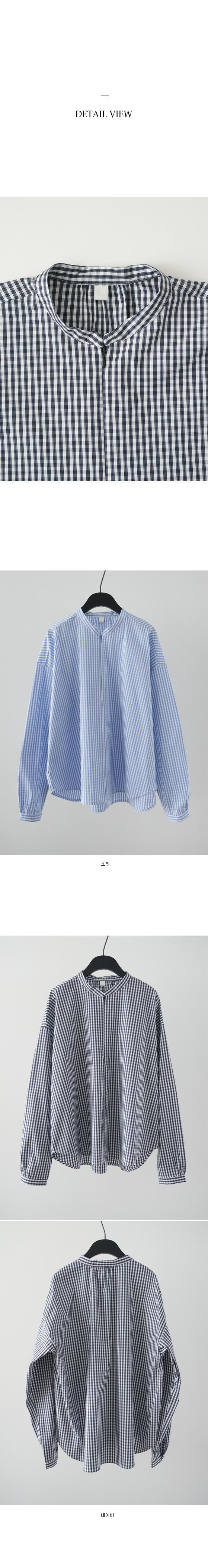 henley neck check shirt