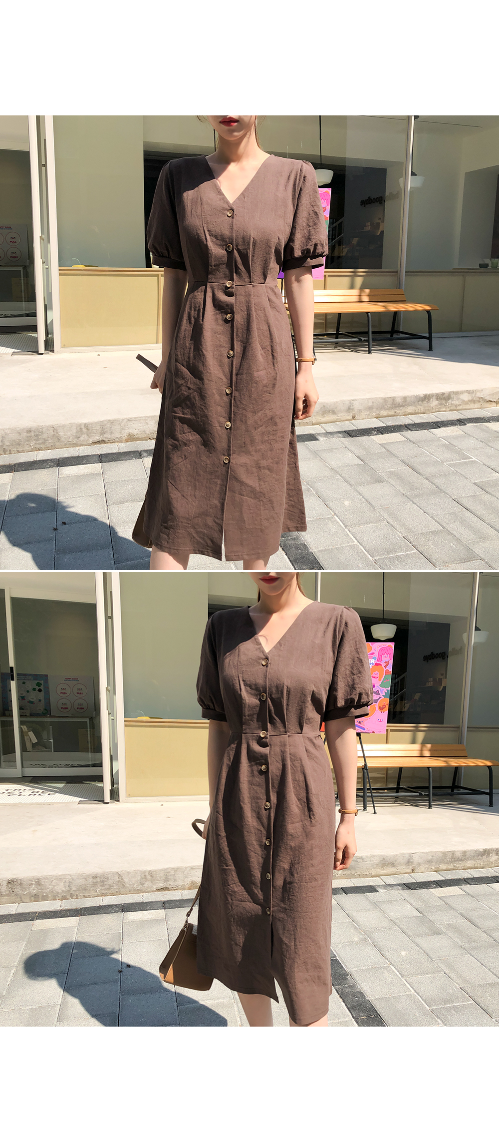 Brown Sorrem Linen One Piece