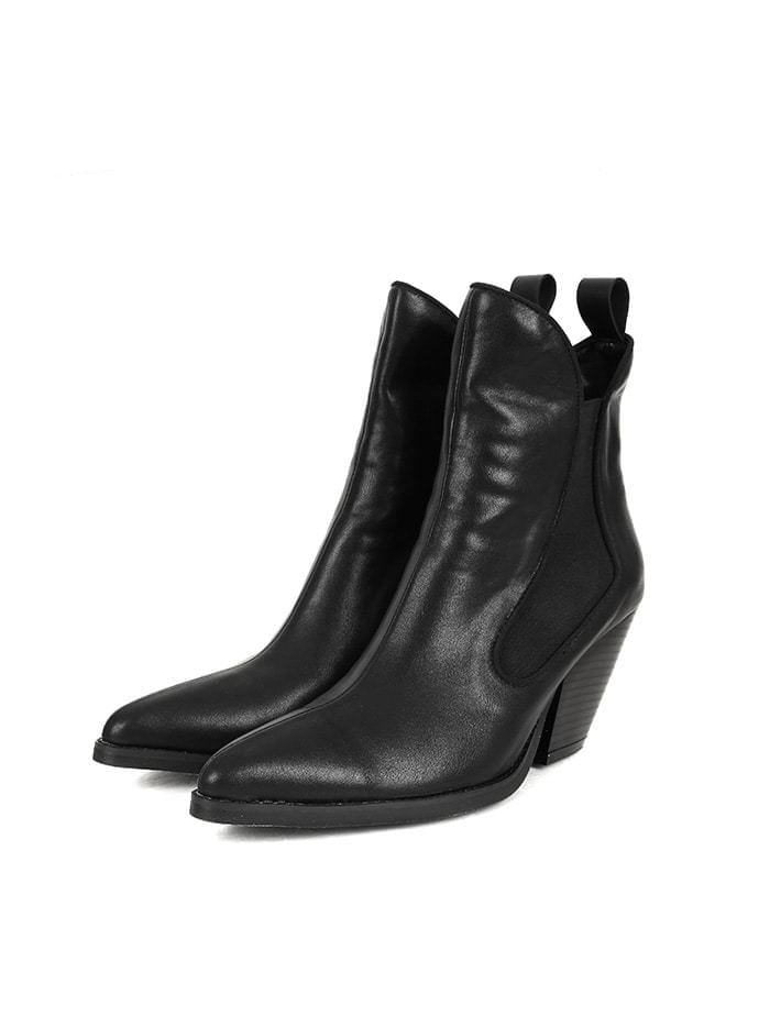 leather western ankle boots (3 color)