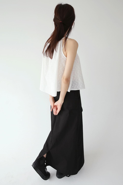 crispy texture cargo maxi skirts (2colors)