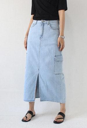 Pocket denim long skirt