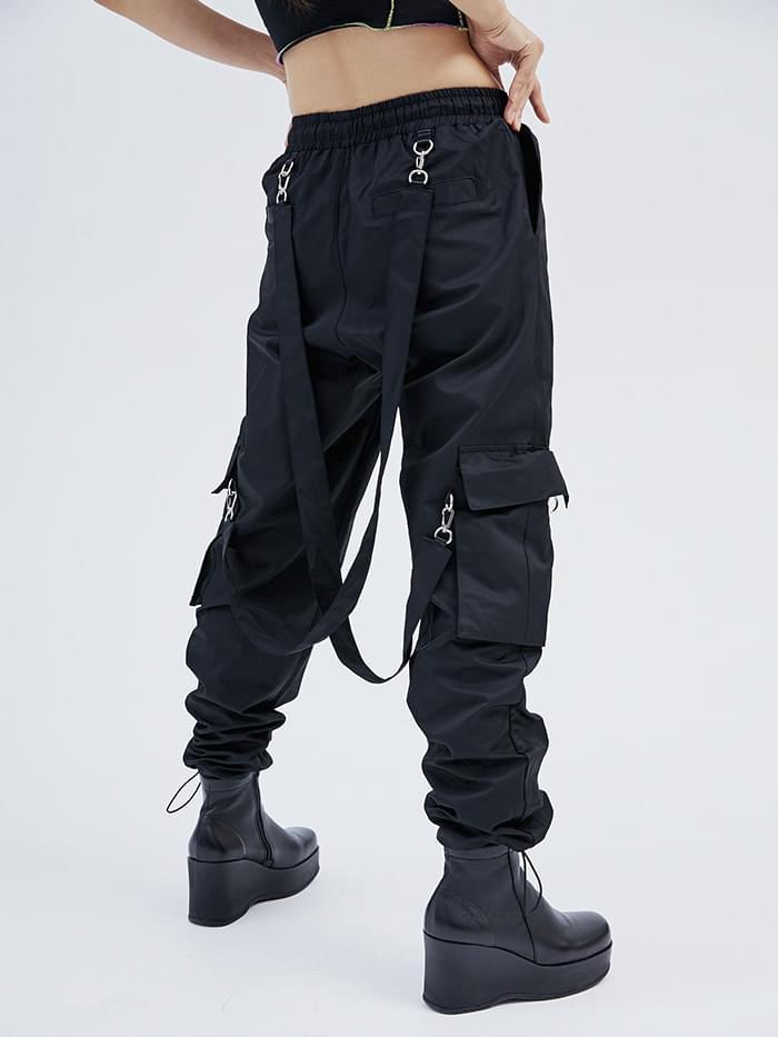 strap cargo jogger pants (2 color) - men