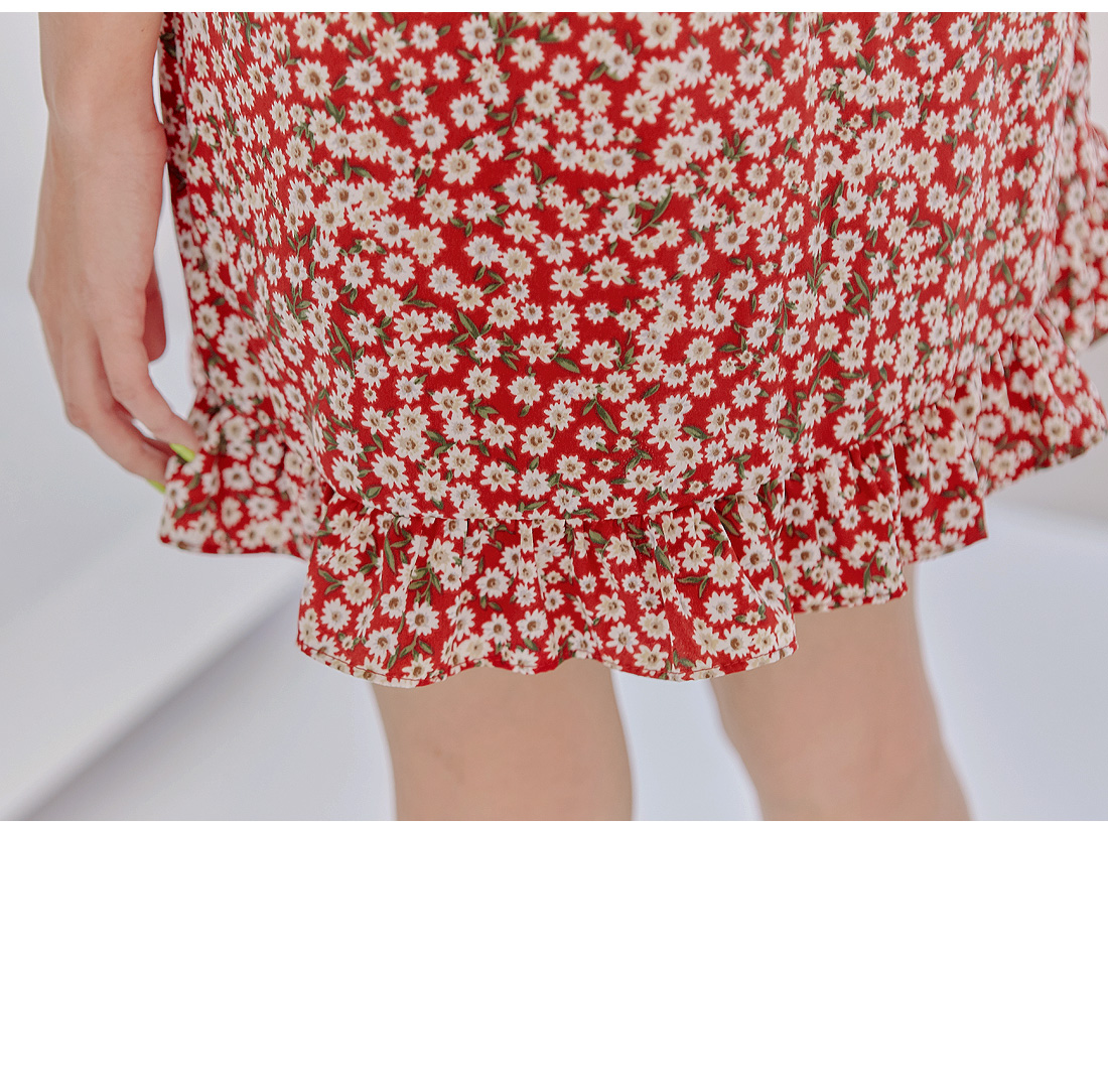 SEVIA FLOWER FRILL MINI SKIRT