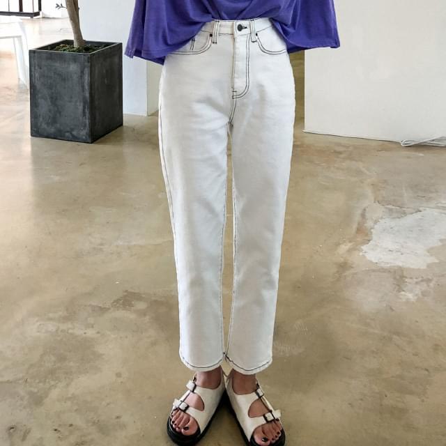 Stitch Detail Cotton Pants パンツ