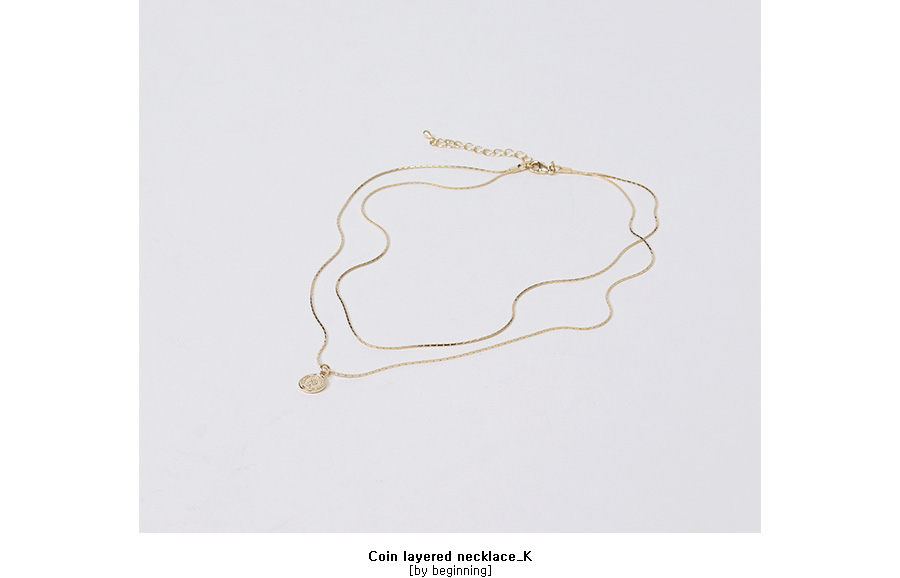 Coin layered necklace_K (size : one)