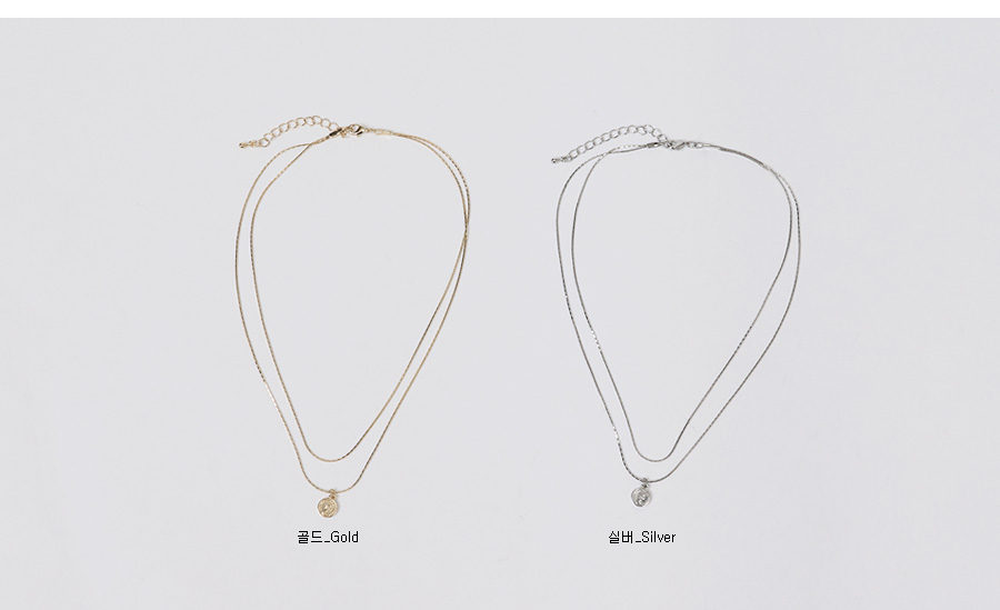 Coin layered necklace_K