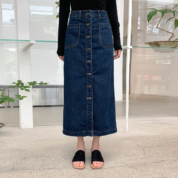 Button-up deep denim skirt