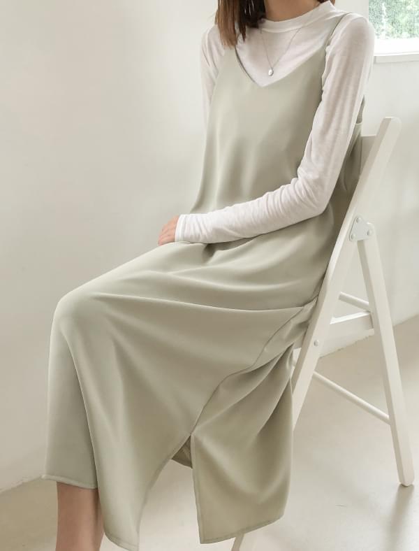 sleeveless slit long soft ops