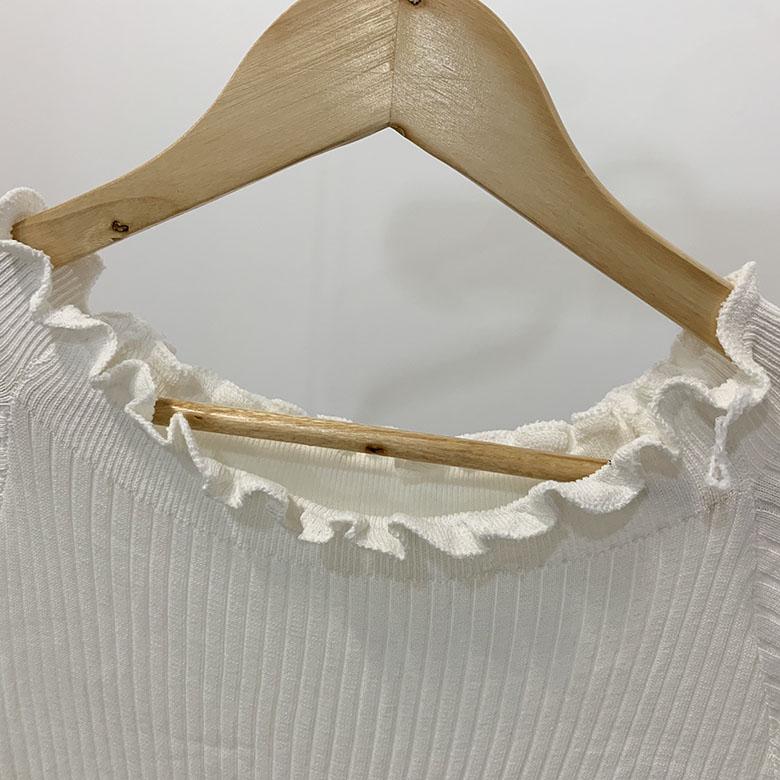 Abel Off Shoulder Ruffle Golly Short Sleeve Knit Dress