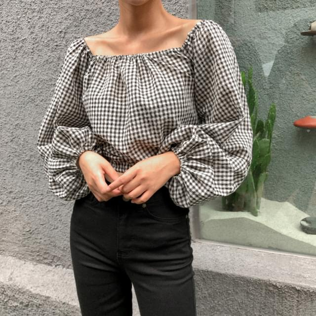 easy check banding blouse