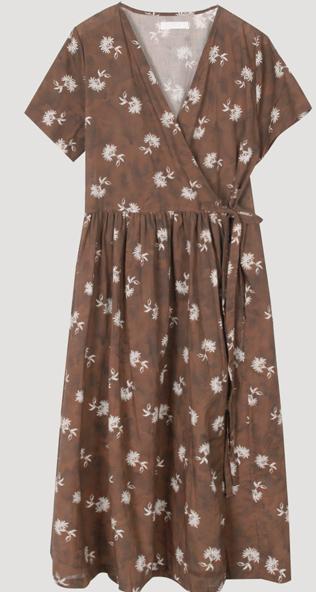 Flower Bleach Wrap Dress