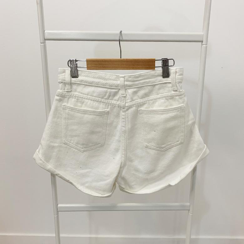 Neon Sign Color denim roll-up short pants