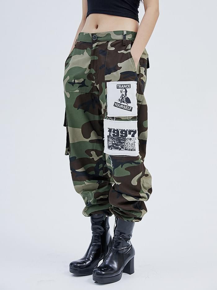 military patch pants - men
