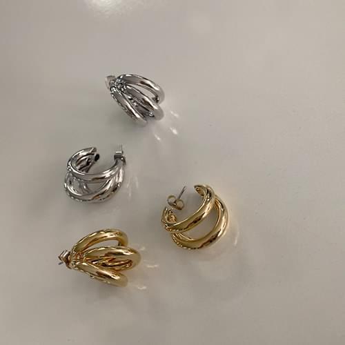 層次感三圓環金屬耳環