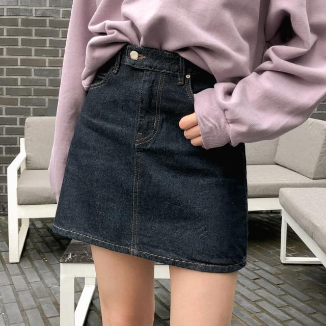 deep color denim mini skirt