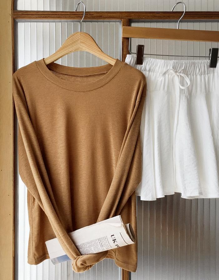 Linen basic long-sleeved T-shirt