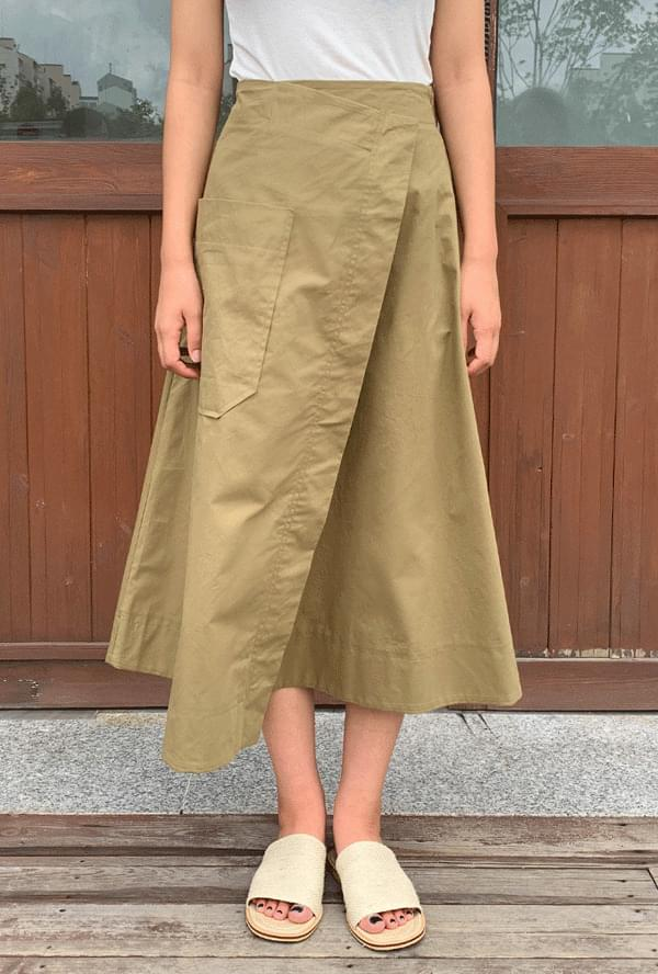 Big pocket A-line skirt