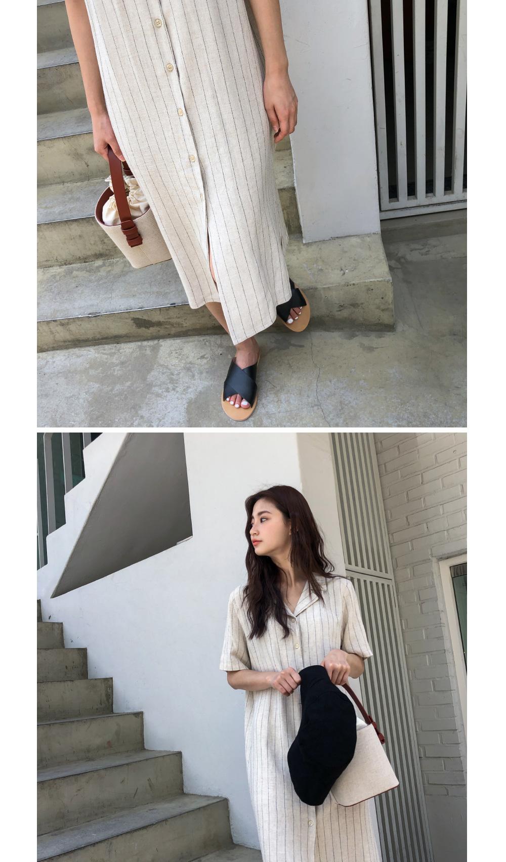 Linen striped long dress-ops
