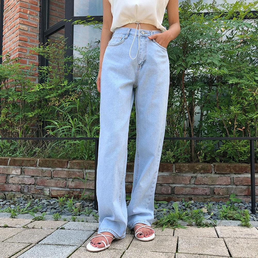 Long wide denim pants