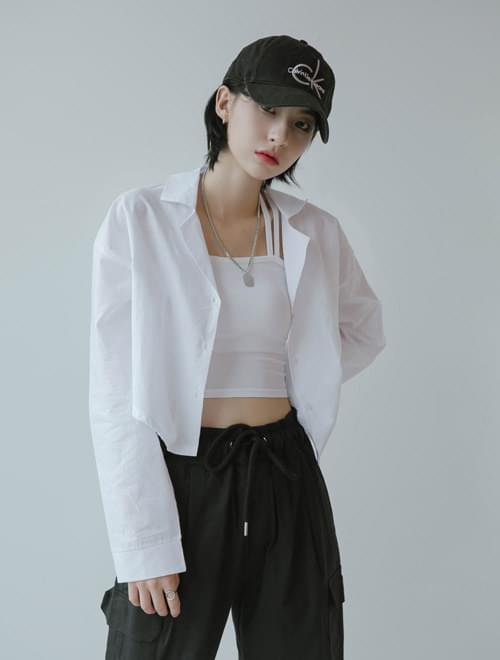 See-through cropped shirt