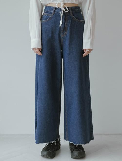 Thong wide denim pants