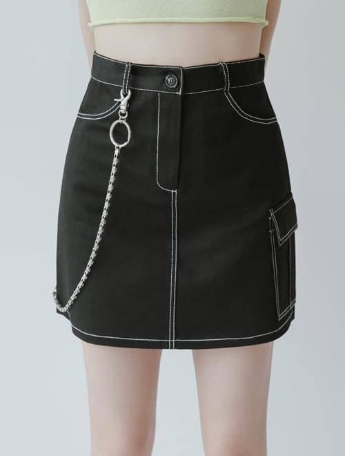 Olive stitched skirt