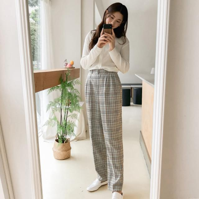 Vintage check pin tuck pants pants