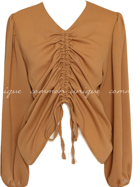 TIMES SEETHROUGH SHIRRING BLOUSE