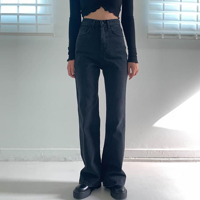 Long Boots Cut Moe Gray Pants