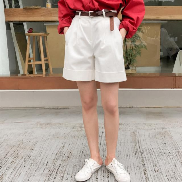 Roll Up Banding Cotton Short Pants-spt 短褲
