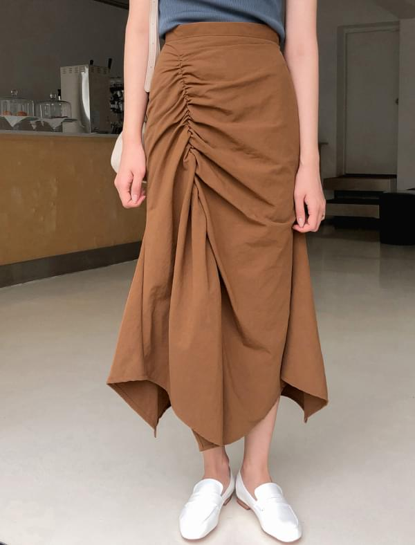 trendy shirring long skirt