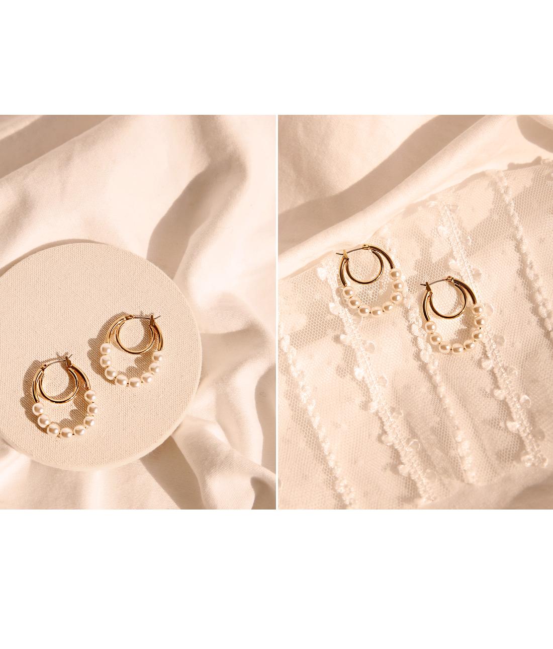 LENT PEARL GOLD 2 RING EARRING