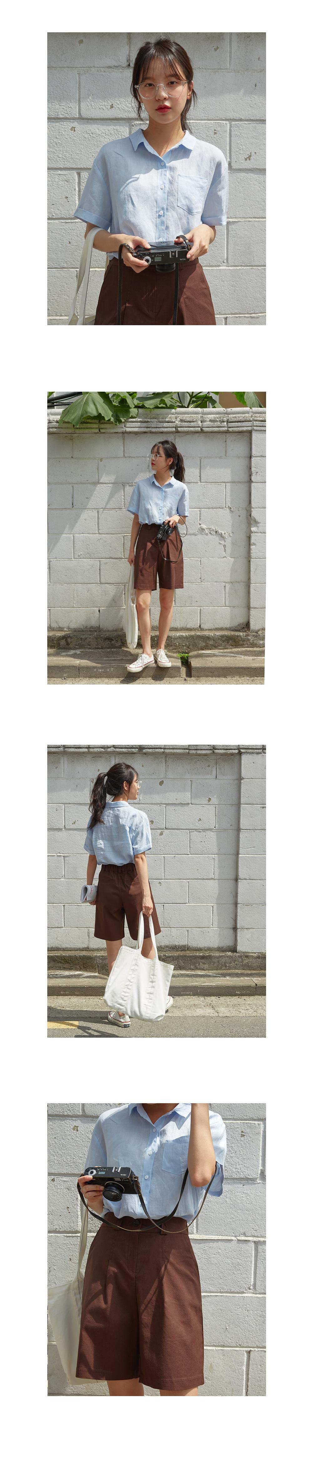 basic linen short pants