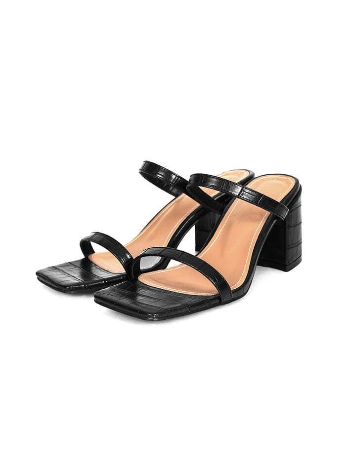 crocodile strap mule slipper (5 color)