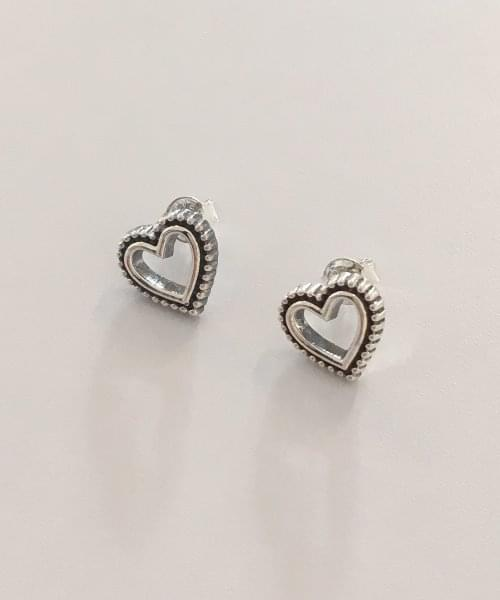 (silver925) dot heart earring