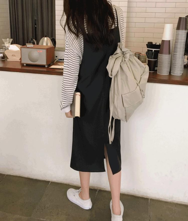 韓國空運 - ESSAYSelf-Tie Strap Pinafore Dress 及膝洋裝