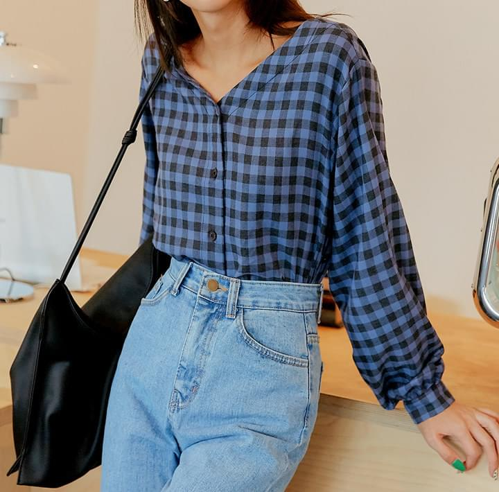 NEMO CHECK V NECK BLOUSE ブラウス