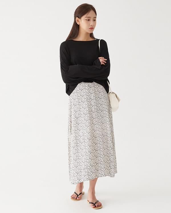 flower long flare skirt