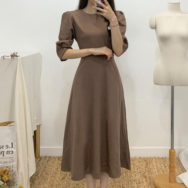 Dark Round Neck Flared Long Dress