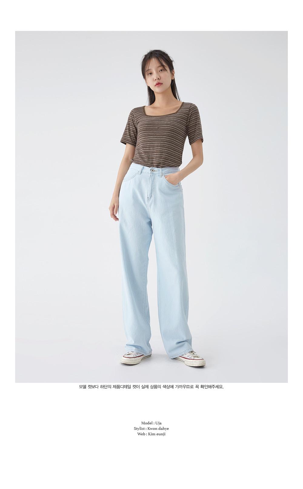 square stripe linen T