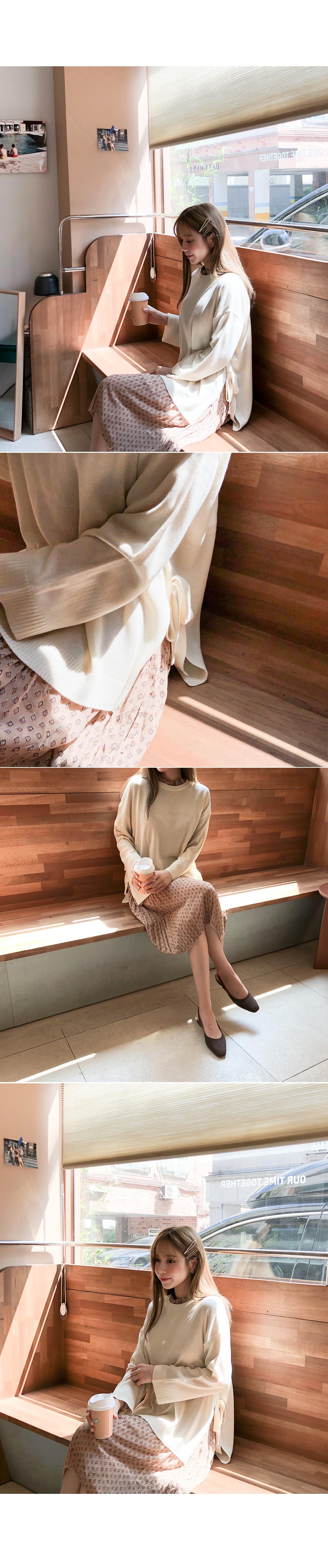 Side ribbon point knit