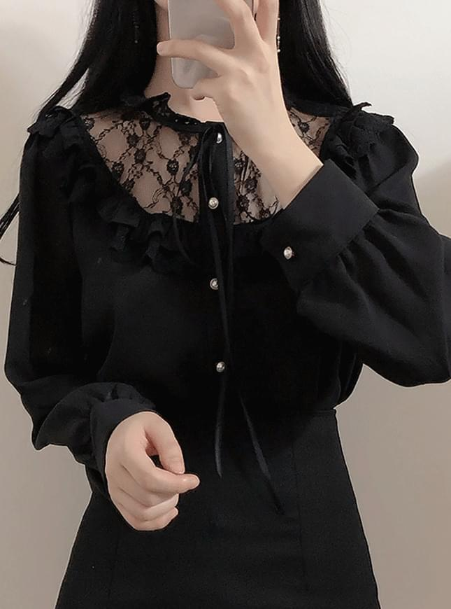 New Arrival ♥ Full Moon Lace Ribbon Blouse