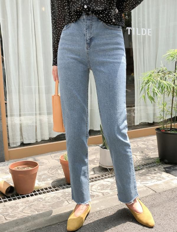 refined cutting denim pants