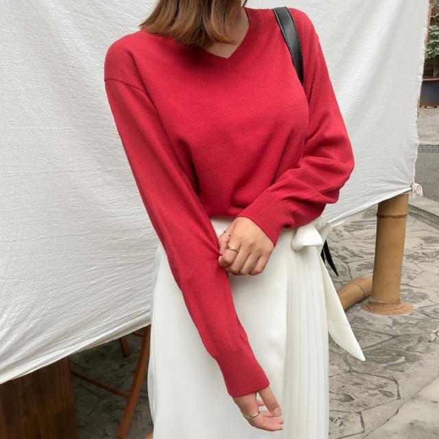 Basic V Neck Knit-knit