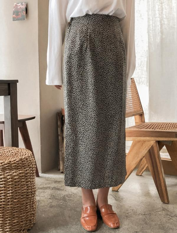 leopard banding long skirt